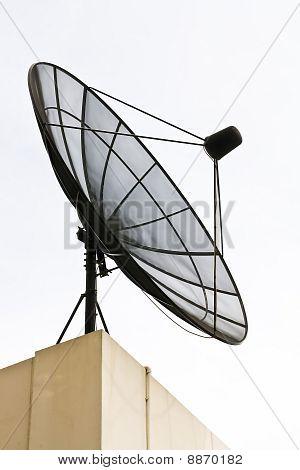 Big Black Satellite Dish on office building