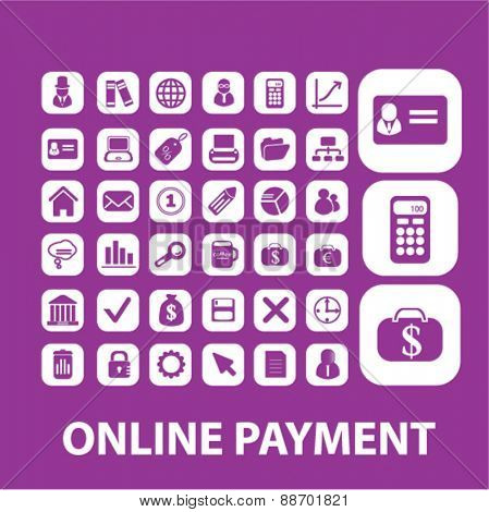online payment, finance, bank, money icons, signs, illustrations set, vector