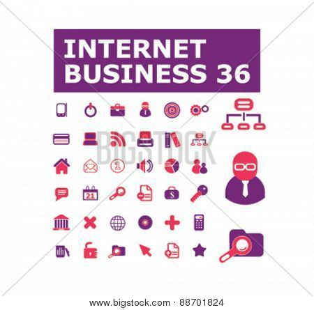 internet business, website icons, signs, illustrations set, vector