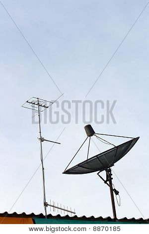 Satellite dish and Radio Antenna on the house Roof