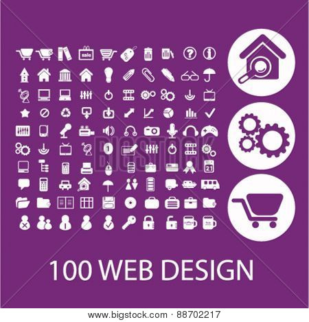 100 web design, internet. commerce icons, signs, illustations set, vector for web, mobile application