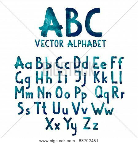 Colorful watercolor aquarelle font type handwritten hand drawn doodle abc alphabet letters uppercase
