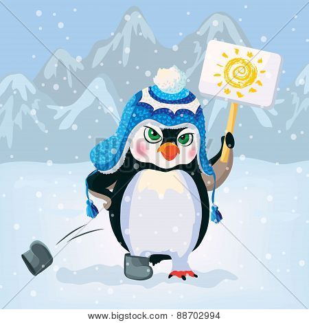 Unhappy penguin holding a sign. Vector
