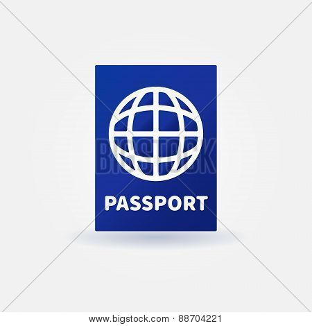 Passport blue vector sign
