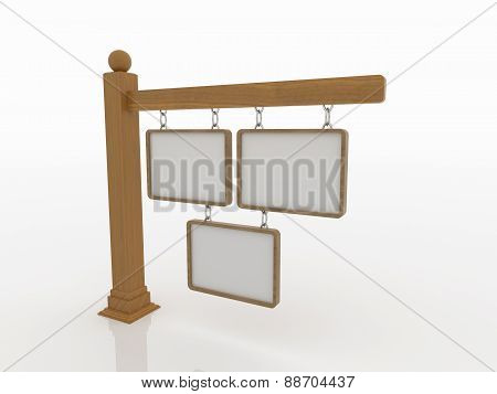 Three Wooden Signboards On Post With Chains On White Background