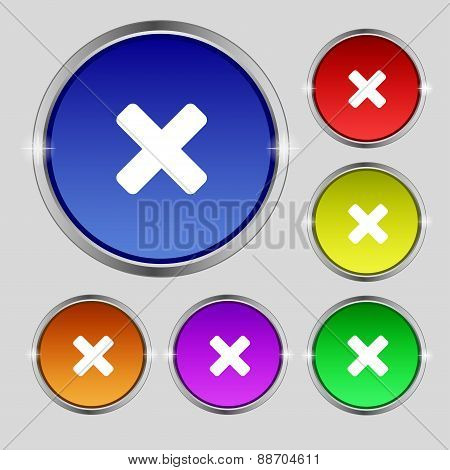 Cancel, Multiplication Icon Sign. Round Symbol On Bright Colourful Buttons. Vector