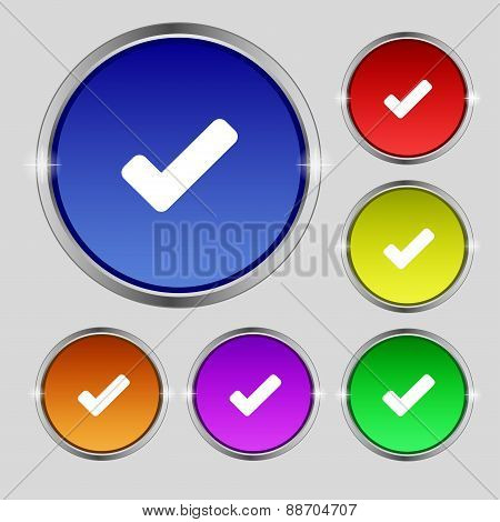 Check Mark, Tik Icon Sign. Round Symbol On Bright Colourful Buttons. Vector