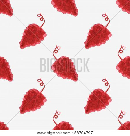 Seamless watercolor pattern with grape bunches on the white background, aquarelle.  Vector illustrat