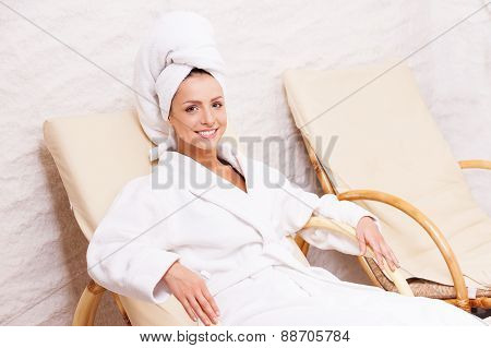 Woman In Spa Center.