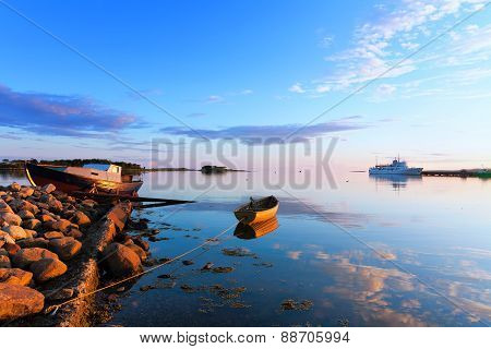 Boats And Passenger Ship Off The Coast Of The Big Solovetsky Island.
