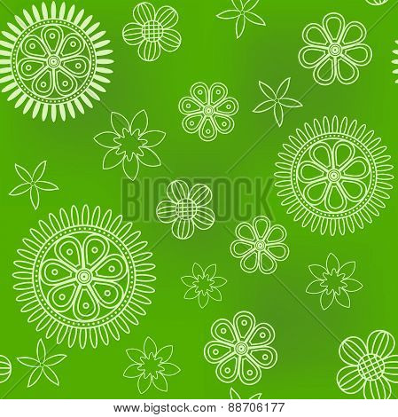 Seamless green pattern with thin flowers