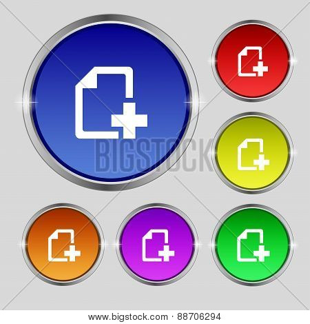 Add File Document Icon Sign. Round Symbol On Bright Colourful Buttons. Vector