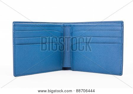 Open Blue Leather Wallet Isolated On White Background
