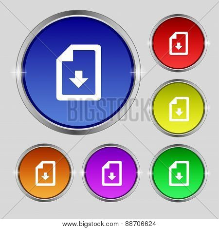 Import, Download File Icon Sign. Round Symbol On Bright Colourful Buttons. Vector