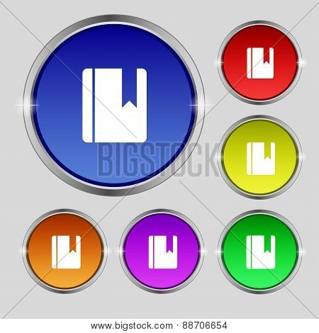 Book Bookmark Icon Sign. Round Symbol On Bright Colourful Buttons. Vector