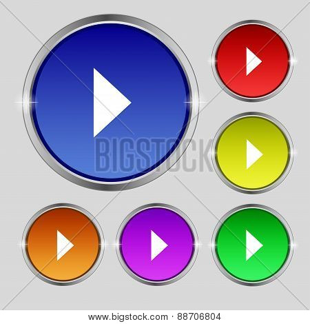 Play Button Icon Sign. Round Symbol On Bright Colourful Buttons. Vector