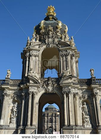 Arched Tower Of Crown Gate, Zwinger In Dresden, Saxony, Germany.