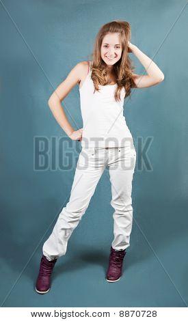 Long-haired Teenager Girl