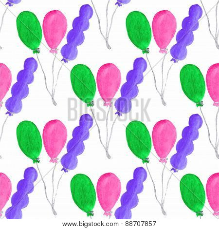 Watercolor seamless pattern with air baloons on the white background, aquarelle. Vector illustration