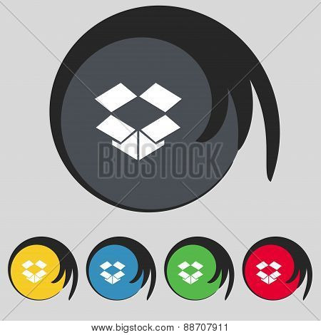 Open Box Icon Sign. Symbol On Five Colored Buttons. Vector