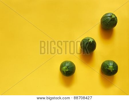 Round Zucchini Triangle On Yellow Background