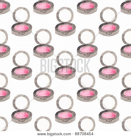 Seamless watercolor pattern with blush on the white background, aquarelle.  Vector illustration.