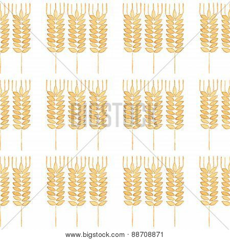 Seamless watercolor pattern with ear of wheat on the white background, aquarelle. Vector illustratio