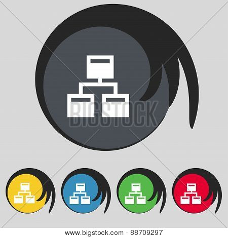 Local Network Icon Sign. Symbol On Five Colored Buttons. Vector