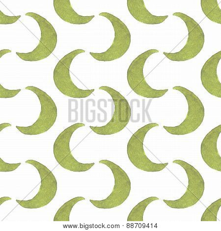 Pattern of goloden crescent. Seamless pattern in childish style. Vector illustration.