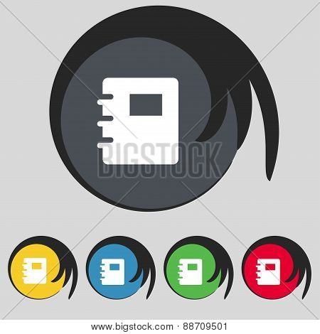 Book Icon Sign. Symbol On Five Colored Buttons. Vector