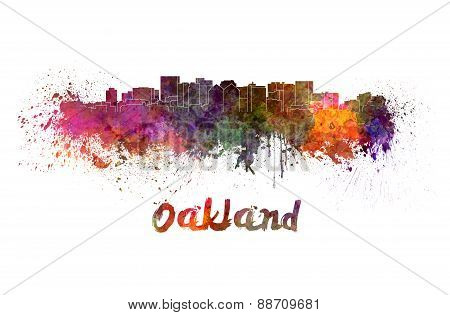 Oakland Skyline In Watercolor