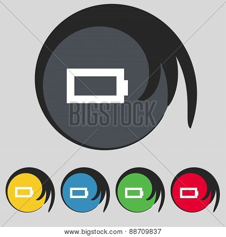 Battery Empty Icon Sign. Symbol On Five Colored Buttons. Vector