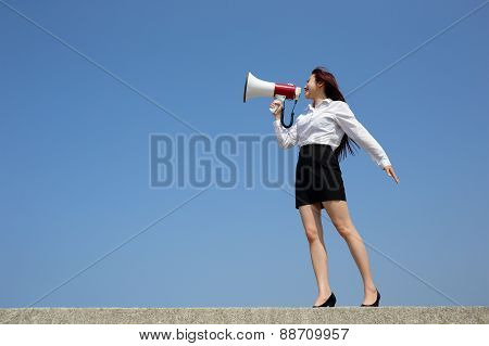 Business Woman Shouting Megaphone