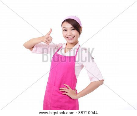 Happy Young Woman Housewife Mother