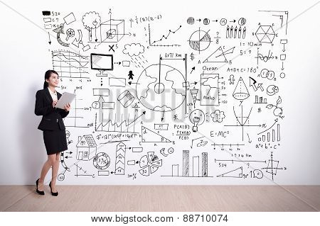 Business Woman With Infographic Concept