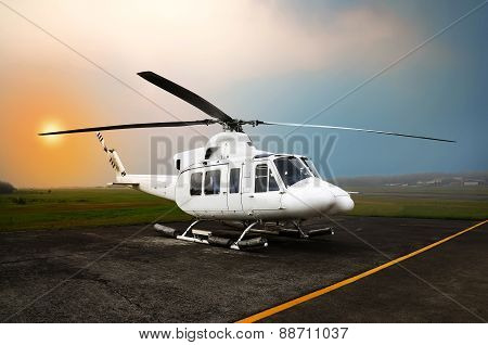 Helicopter Parking At The Airport