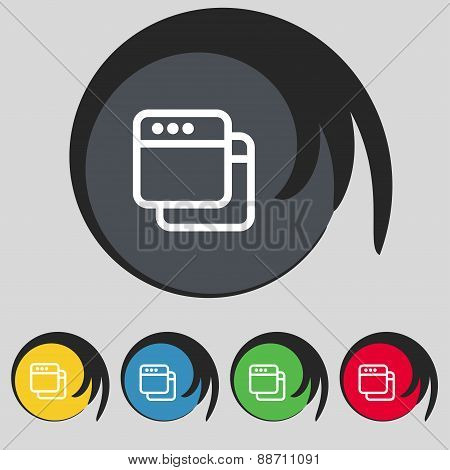 Simple Browser Window Icon Sign. Symbol On Five Colored Buttons. Vector