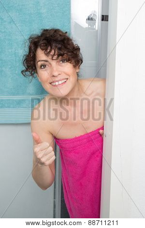 Portrait Of Smiling Woman Taking Shower