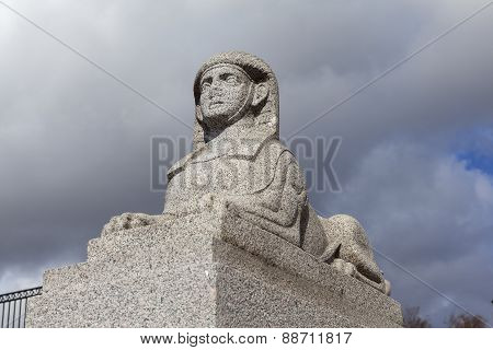 Sphinx bunk stone terrace-pier opposite the former estate Kushelev-Bezborodko. St. Petersburg.