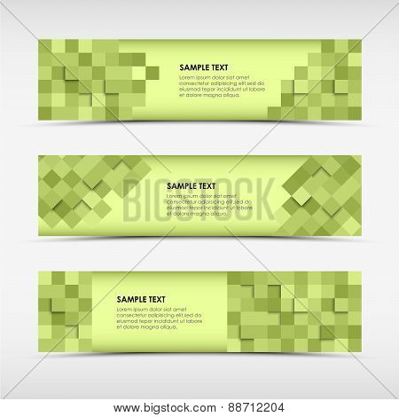 Abstract Horizontal Banners With Green Squares