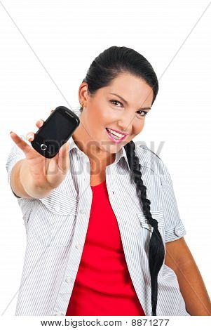 Cheerful Woman Giving A Cell Phone