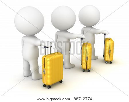 3D Character Waiting in Line with Travel Trolley