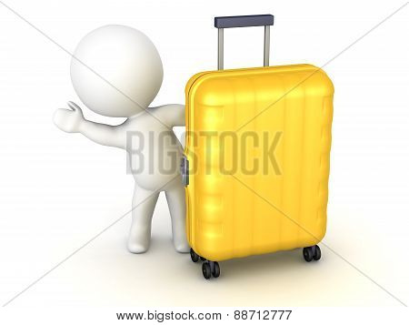 3D Character Waving from Behind Travel Trolley
