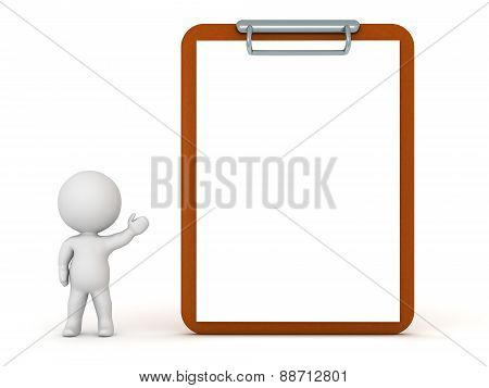 3D Character Showing Clipboard