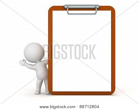3D Character Waving from Behind Clipboard