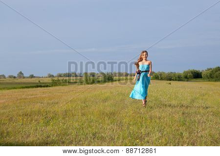 Beautiful Girl Goes On Field, Summer