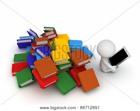 3D Character Using Tablet and Ignoring Books