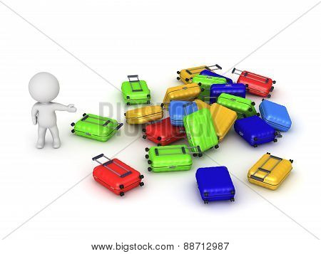 3D Character Showing Pile Of Luggage
