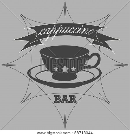 Vintage Coffee Themed Monochrome Labels.
