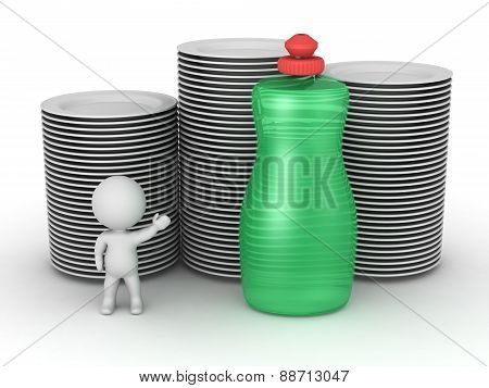 3D Character Showing Bottle Of Dish Soap And Clean Plates, Isolated On White
